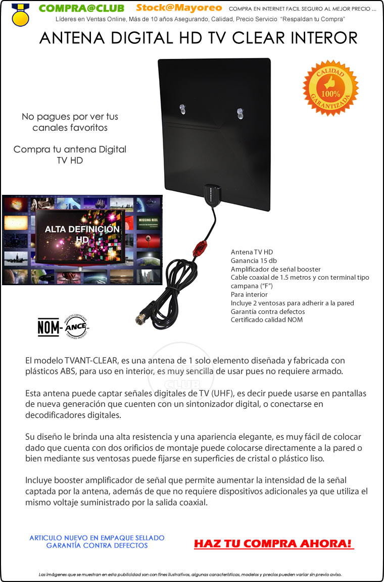 Antena Digital HD TV Clear Interior