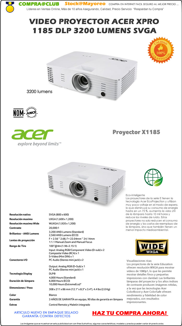 Video Proyector Acer XPro 1185 DLP 3200 Lumens Svga