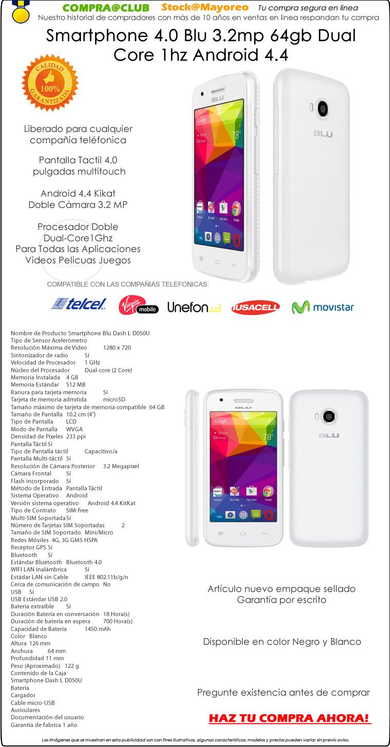 Smartphone 4.0 Blu 3.2mp 64gb Dual Core 1hz Android 4.4